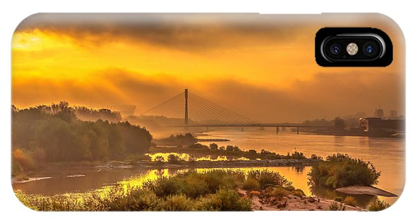 Sunrise Over Swiatokrzyski Bridge In Warsaw IPhone Case