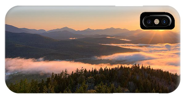 Beauty In Nature iPhone Case - Sunrise Over The Adirondack High Peaks by Panoramic Images