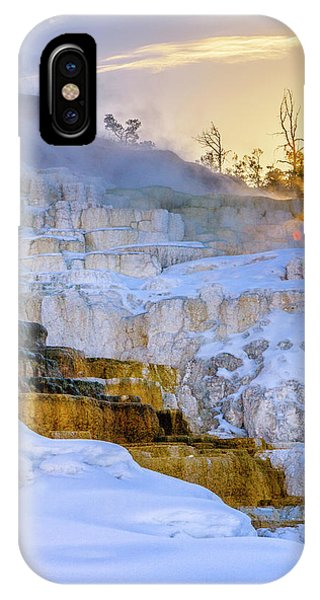 Mammoth Hot Springs iPhone Case - Sunrise Over Travertine Terrace by Tom Norring