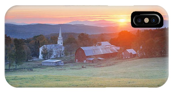 New England Barn iPhone Case - Sunrise Peacham Vt Usa by Panoramic Images