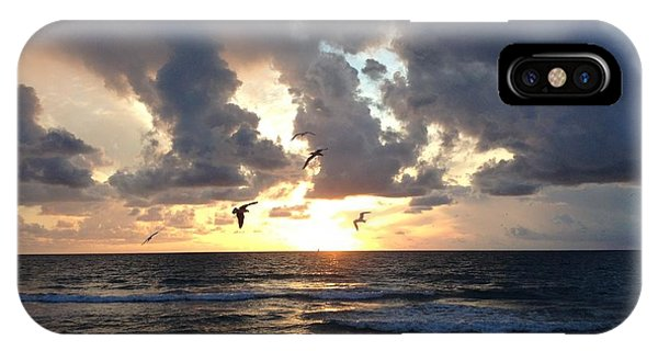 IPhone Case featuring the photograph Sunrise Seagulls by Barbara Von Pagel