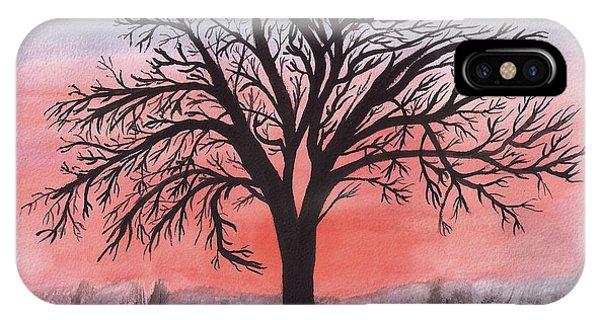 November Sunrise Walnut Tree Watercolor IPhone Case