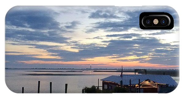 Sunset At American Fish Co       Safe Havens Ivans In Southport Nc IPhone Case