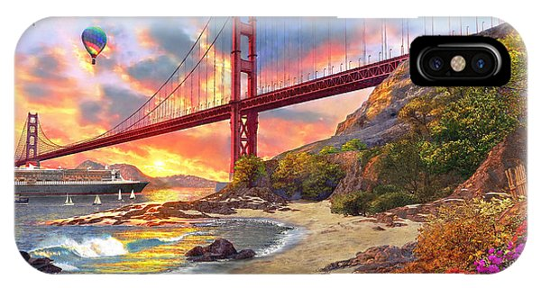 Golden iPhone Case - Sunset At Golden Gate by MGL Meiklejohn Graphics Licensing