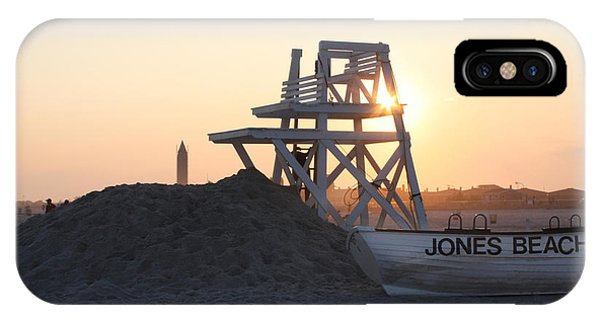 Beach Chair iPhone Case - Sunset At Jones Beach by John Telfer