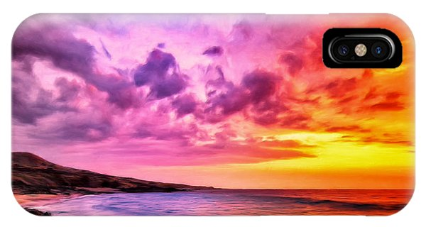 Hawaiian Sunset iPhone Case - Sunset At Manini'owali Beach by Dominic Piperata
