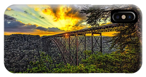 Sunset At New River Gorge Bridge Phone Case by Mark East