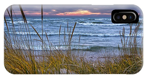 Sunset On The Beach At Lake Michigan With Dune Grass IPhone Case