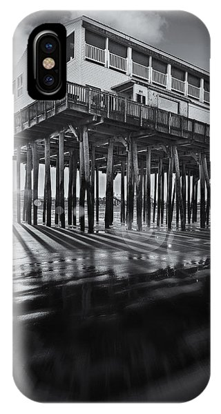 Orchard Beach iPhone Case - Sunset At The Pier Bw by Susan Candelario