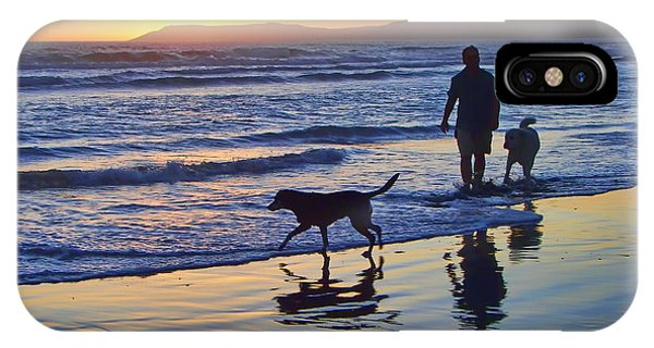 Sunset Beach Stroll - Man And Dogs IPhone Case
