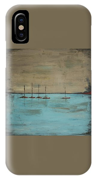 IPhone Case featuring the painting Sunset Boats by Ben Gertsberg