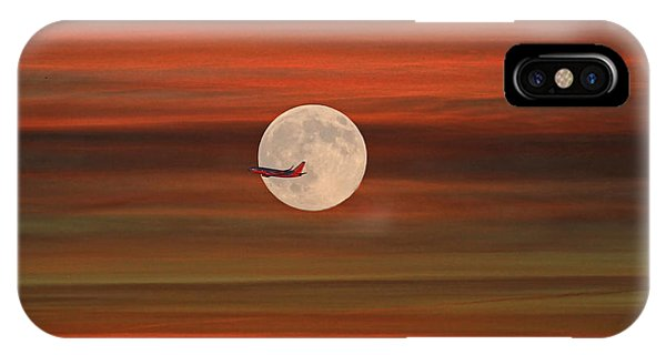 Sunset Flight With Full Moon IPhone Case