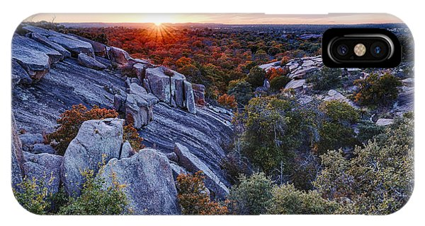 Sunset From The Top Of Little Rock At Enchanted Rock State Park - Fredericksburg Texas Hill Country IPhone Case