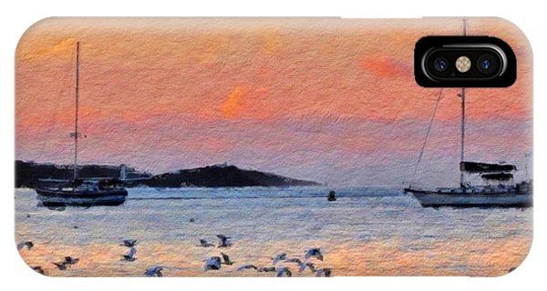 Sunset Harbor With Birds - Square IPhone Case