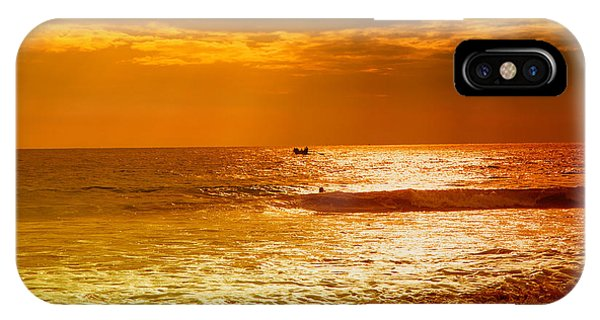 Tropes iPhone Case - sunset in gold and red at the Hikkaduwa beach by Gina Koch