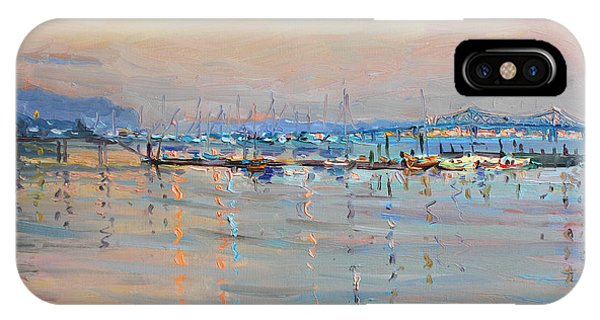 Sunset iPhone Case - Sunset In Piermont Harbor Ny by Ylli Haruni