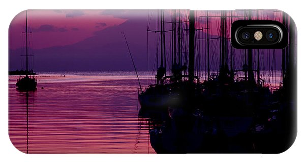 Sunset In Pink And Purple With Yachts At Bay IPhone Case