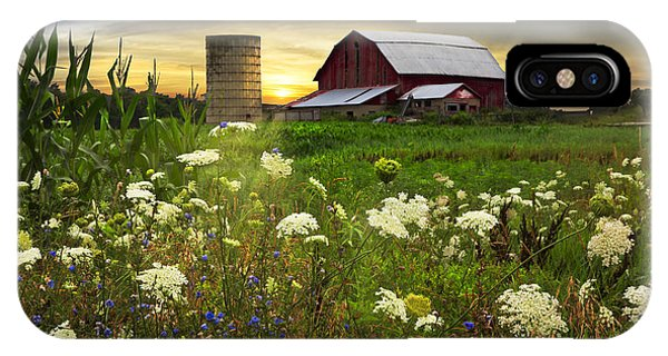 Silos iPhone Case - Sunset Lace Pastures by Debra and Dave Vanderlaan