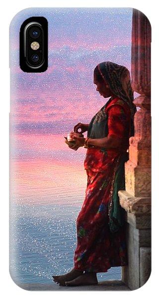 Sunset Lake Colorful Woman Rajasthani Udaipur India IPhone Case
