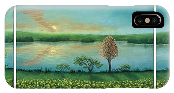 Sunset Lake Triptych IPhone Case