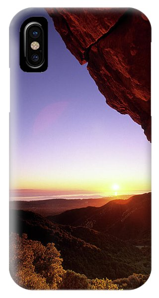 Barbara Steele iPhone Case - Sunset Landscape Framed  By Rock Faces by Kevin Steele
