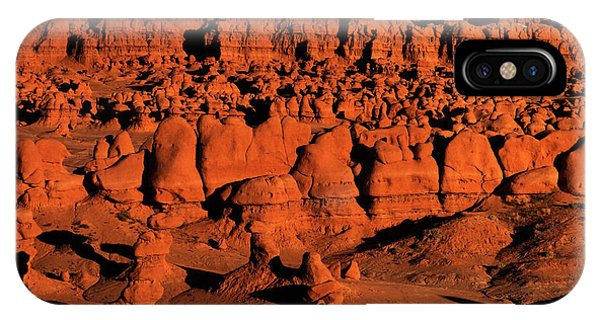 Sunset Light Turns The Hoodoos Blood Red In Goblin Valley State Park Utah IPhone Case