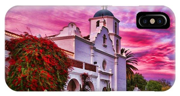 Sunset Mission San Luis Rey De Francia By Diana Sainz IPhone Case