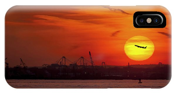 Airplanes iPhone Case - Sunset: New York Harbor by Michael Castellano