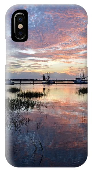 Sunset On Jekyll Island With Docked Boats IPhone Case