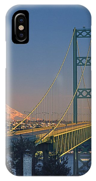 1a4y20-v-sunset On Rainier With The Tacoma Narrows Bridge IPhone Case