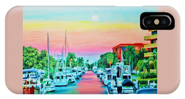 IPhone Case featuring the painting Sunset On The Canal by Deborah Boyd