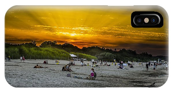Sunset On The Crowded Beach Phone Case by Adam Budziarek
