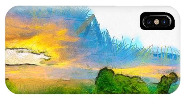 Etna iPhone Case - Sunset On The Farm Pencil by Edward Fielding