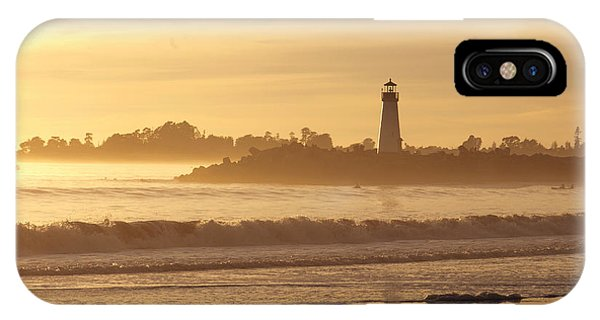 Sunset On The Lighthouse In Santa Cruz Harbor IPhone Case