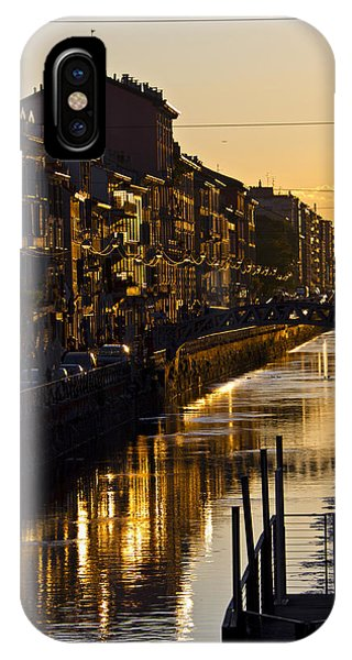 Sunset On The Navigli In Milan IPhone Case