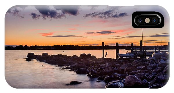 Sunset On The Rocks - Stonington Point IPhone Case