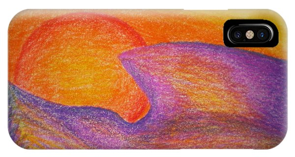 Sunset On Wavy Mountains Detail Of Sun IPhone Case