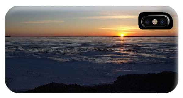 Sunset Over A Frozen Lake Erie - 1 IPhone Case