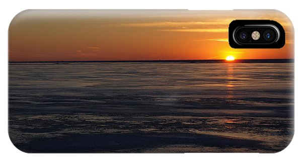 Sunset Over A Frozen Lake Erie - 3 IPhone Case