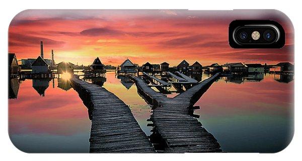 Bridge iPhone Case - Sunset Over Bokodi Hutoto Lake by Atanas Donev