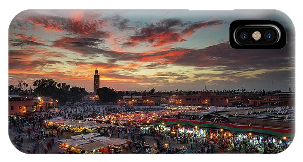 Crowd iPhone Case - Sunset Over Jemaa Le Fnaa Square In Marrakech, Morocco by Dan Mirica