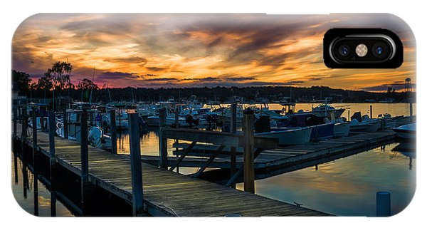 Sunset Over Marina On Mystic River IPhone Case