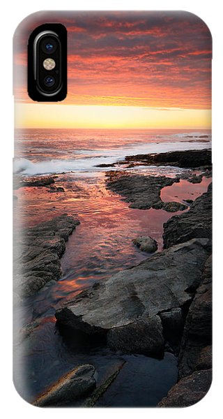 Dark Clouds iPhone Case - Sunset Over Rocky Coastline by Johan Swanepoel