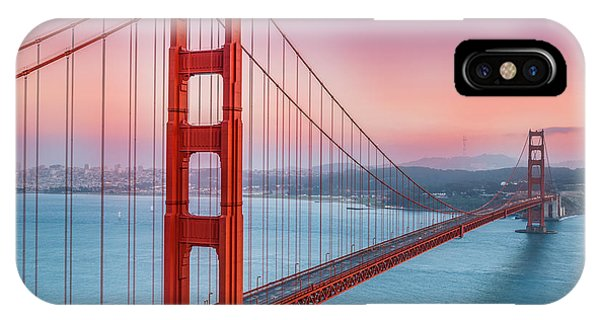 Orange Sunset iPhone Case - Sunset Over The Golden Gate Bridge by Sarit Sotangkur