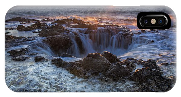 Sunset Over Thor's Well Along Oregon Coast IPhone Case