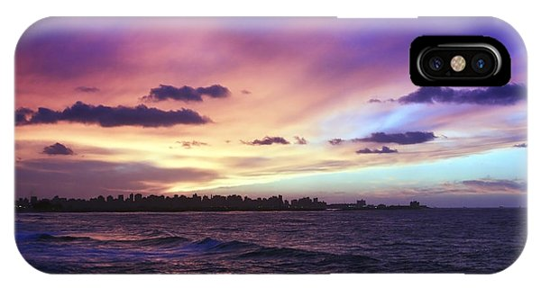 Sunset Over Town And Sea Water IPhone Case