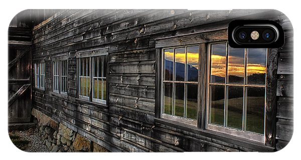 New England Barn iPhone Case - Sunset Reflections by John Vose