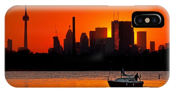 IPhone Case featuring the photograph Sunset Sail Ashbridges Bay Toronto Canada by Brian Carson