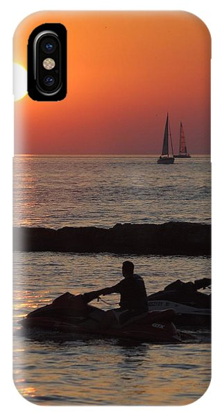 Jet Ski iPhone Case - Sunset Silhouette by Frozen in Time Fine Art Photography