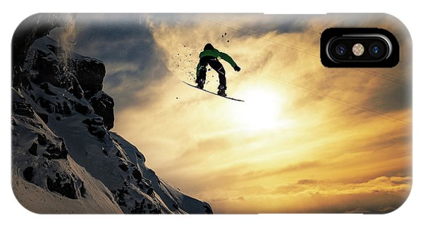 Sunset Snowboarding IPhone Case